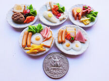 5 Breakfast Egg & Steak Dollhouse Miniature Food,Tiny Food, Doll Collectible