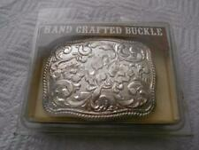 CHAMBERS SILVER PLATED BELT BUCKLE RAISED FLORAL DESIGN MADE USA