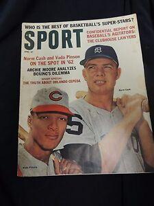 Vintage Sport Magazine 1962 Norm Cash Cepeda Pinson MLB Boxing Basketball Ads