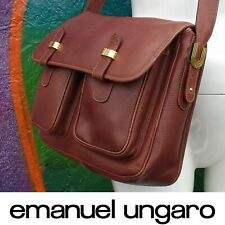 EMANUEL UNGARO Cross Body Shoulder Bag Satchel Leather Brown Gold Hardware