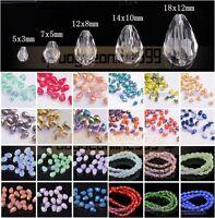 5/12/14/18mm Teardrop Faceted Crystal Rhinestone Glass Loose Spacer Beads