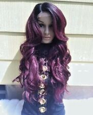 Ombré dark roots to maroon red wine red lace front wig heat resistant synthetic