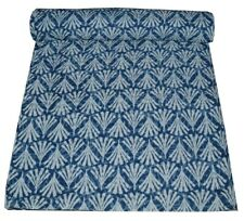 Indian Hand Block Print Twin Kantha Quilt Reversible Bedding Cotton Bedspread