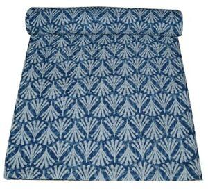 Indian Hand Block Print Twin Kantha Quilt Reversible Bedding Cotton Bedspread