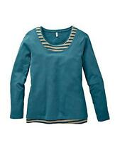 Cotton Tunic Layered Look Sweatshirt with Contrast stripe Detail Size 30- 32 NEW