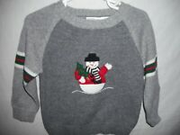 Good Lad Boy's Gray Sweater Winter Christmas Holiday Snowman Stripes Size 24M
