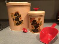 Vintage Cannister Poodle Tin Set of 2