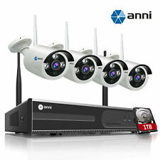 Anni Wireless 4CH 1080P NVR Security Camera System Outdoor Video CCTV 1TB HDD