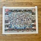 1940s Vintage Cambridge University England Pictorial Map Kerry Ernest Lee Print