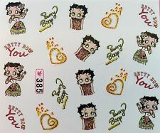 Nail Art Water Decals Betty Boop Hearts SY385