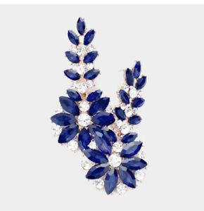 """3"""" Long Navy Blue Long Rhinestone Crystal Pageant Dangle Drop Pierced Earrings"""