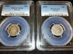 1853 VF20 (Arrows) & 1854 F12 (Arrows) Seated Liberty Dimes PCGS Certified Coins