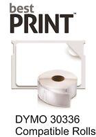 "Best Print Labels 12 Roll 1"" x 2 1/8"" DYMO 30336"