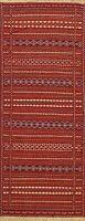 Geometric Kilim Oriental Narrow Runner Rug Hand-Woven Wool 2x7 ft New Carpet