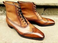Handmade Men's Brown Leather Wing Tip High Ankle Lace Up Leather Boots