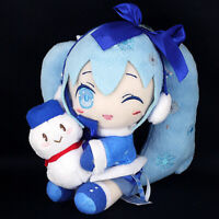 "Vocaloid SNOW HATSUNE MIKU Plush Doll Yuki Fluffy Coat Ver. w/ Snowman 16cm6.5"""
