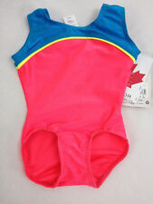 MONDOR 78 NEON PINK & BLUE NYLON GYMNASTICS LEOTARD GIRLS SIZE 2-4, NWT