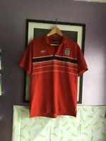 Mens England Umbro Polo Shirt Red - international Football Medium