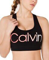 Calvin Klein Womens Sports Bras Black Size Large L Medium-Impact Logo $40 544