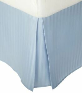 Tailored Bedskirt/Valance Ultra-Plush Egyptian Cotton 1000 TC Light Blue Striped