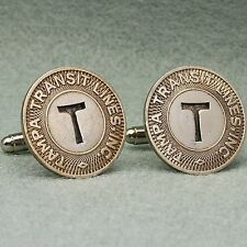 "Letter T Transit Token Cufflinks, Vintage 1940s Initial ""T"" Tampa"
