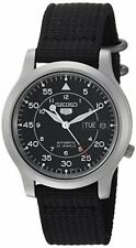 Seiko Men's Black Canvas Strap 5 Automatic Stainless Steel Watch SNK809