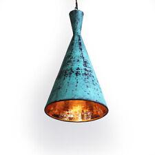Vintage Copper pendant Light Green Patina Hammered Pod Lantern Chandelier