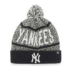 New York Yankees MLB Bedrock Cuff Pom Knit '47 Beanie Hat Cap Black & Gray NY