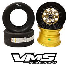 """x2 13X8 VMS RACING REVOLVER BLACK GOLD RIMS WHEELS + MT ET DRAG SLICK TIRES 22"""""""