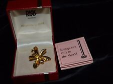 Vtg RISIS Brooch Pendant ORCHARD Flower 22K Gold Plated Singapore Signed #34047