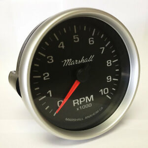 "Marshall 5"" In Dash Tachometer, 0-10,000 RPM, Silver Aluminum Bezel, 2053"