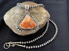 Native American Sterling Silver Navajo Pearls Orange Spiny Oyster Pendant 771