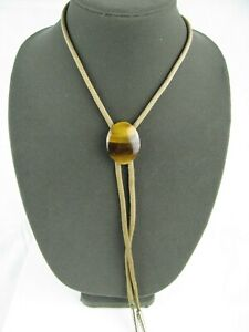 Vintage Bolo Tie With A Beautiful Brown Oval Shaped Polished Stone