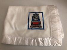 Thomas Train Tank Engine Baby Blanket 2001 White Satin Edge Vintage Quiltex