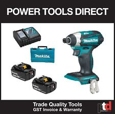 NEW MAKITA 18V CORDLESS BRUSHLESS DTD154Z IMPACT DRIVER KIT WITH 5AMP BATTERIES