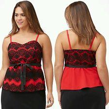 NWT! Lane Bryant Sexy plus size 20 20W 2X red & black flirty lace bustier top