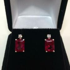 925 Sterling Silver Natural Certified Handmade 8 Ct Ruby stone Antique Earrings