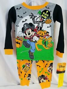 Mickey Mouse Halloween Glow In The Dark snug fit PJs with Mickey, Pluto & Goofy