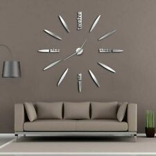 Frameless Diy 3d Large Mirror Wall Clock Mute Time Clock Living Room Home Decor