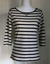 Women's Cotton Ivory Navy blue striped 3/4 sleeve Tee shirt by Papaya size 12