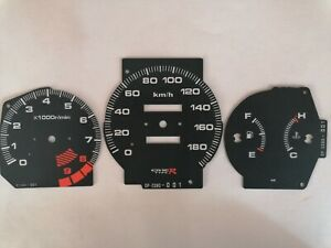 Gauge Faces Overlay kit Type-R style  for JDM Honda Civic Ek 96-00 OEM 180 km/h