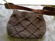 UGG LEATHER AND WOOL KNITTED LARGE SHOULDER BAG BROWN CROCHET KNIT