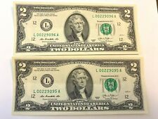 "2 Consecutive 2013 Uncirculated 2 Two Dollar Bills - ""L"" - San Francisco"