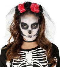 Rosa Tiara & Velo Día de los Muertos Diadema Rosas Disfraz Halloween