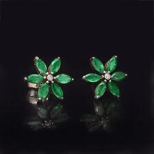 Diamond 18K White Gold Emerald Wedding Gemstone Stud Earrings Handmade Jewelry