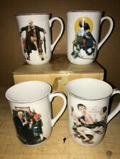 Vintage 1980s Norman Rockwell Porcelain Collectors Tea / Coffee Cups