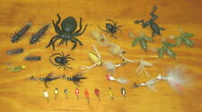 30 Vintage Fly Fishing Flies Spiders Frogs Centipedes Spinners Fishing Lures