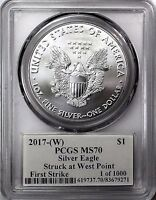 2017 (W) $1 Silver Eagle PCGS MS70 First Strike Mercanti