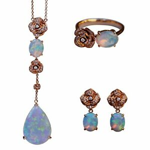 Natural Australia soild opal diamond pendant necklace earring ring 18K Rose Gold