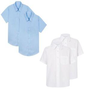 Men Boys  Polycotton School Shirt Sky Blue White Long Short sleeve Shirts Office